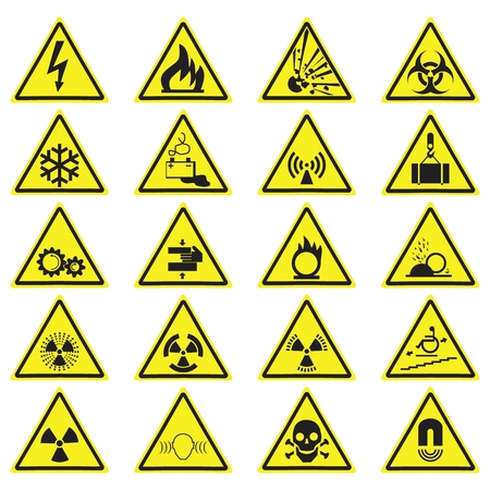 Warning Hazard Yellow Triangle Signs Set. Vector symbols isolated on white.