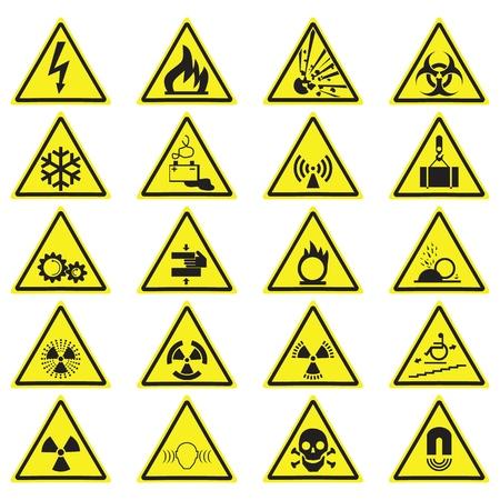 Zestaw znaków ostrzegawczych zagrożenia żółty trójkąt. Symbole wektorowe na białym tle.