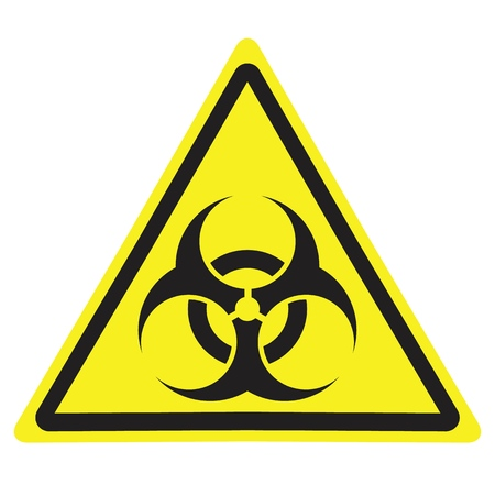 Yellow triangle warning sign with Biohazard symbol. Stock Illustratie