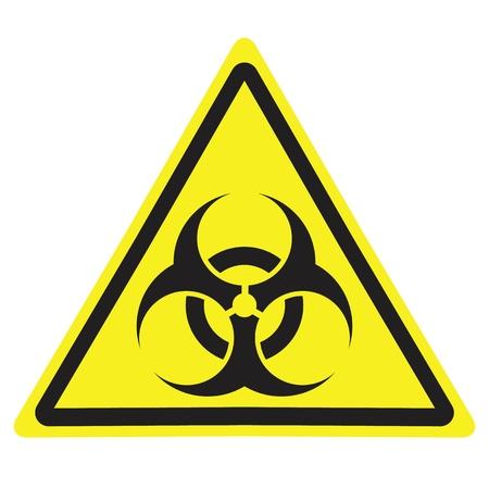 Znak ostrzegawczy żółty trójkąt z symbolem zagrożenia biologicznego.