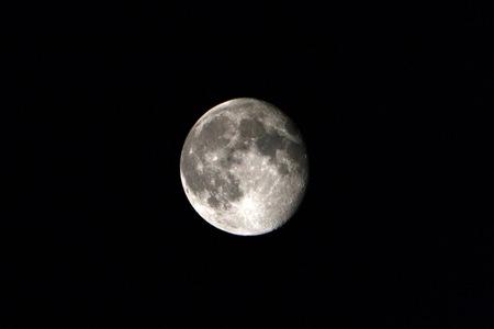 Moon on the dark black night.