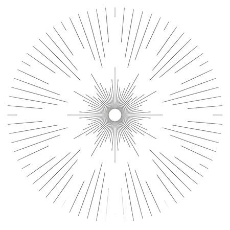 Vintage monochrome sunburst, starburst, bursting rays. Trendy cool design element isolated on white. Illustration