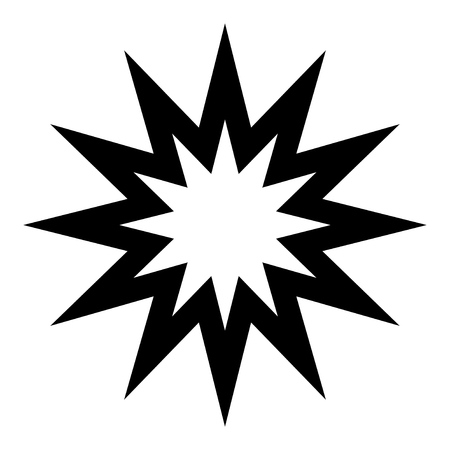 Twelve pointed star icon, simple design element isolated black on white Иллюстрация