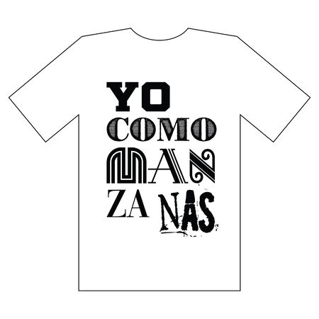 I eat apples. Spanish typography graphics for tee shirt with slogan. Pattern for poster, print, banner, flyer. Athletic clothes. Tee shirt design. 矢量图像