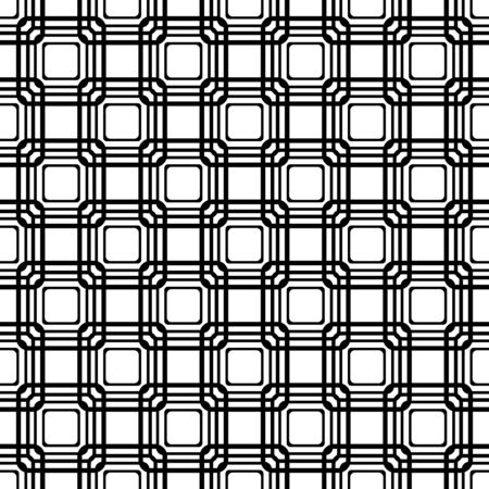 vector seamless rounded rectangle pattern. endless texture black and white. abstract geometric ornament background.