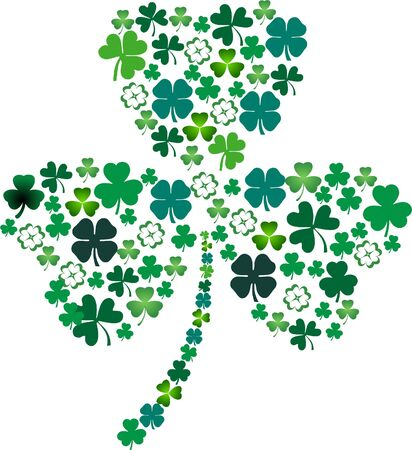 Shamrock with three petals filled with shamrocks