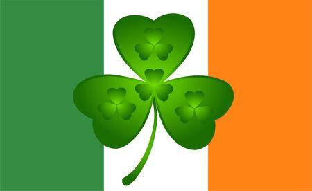 patrick day three petals shamrock on irish flag