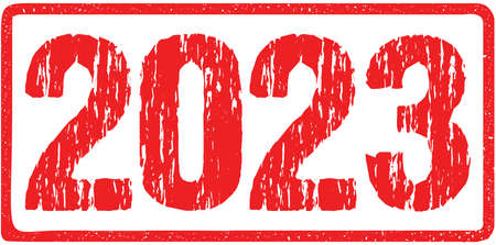 2023 Year Distressed Rough Numbers Sign Typography Isolated on White. Red Ink Grunge Rubber Stamp Imitation Effect