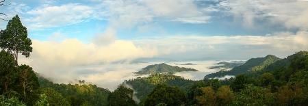 mountin: Fog over the hill at Panoenthung Mountin , Petchaburi , Thailand
