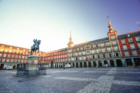 historic place: Morning Light at Plaza Mayor in Madrid , Spain