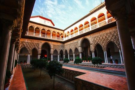 alcazar: Patio de las Doncellas in Real Alcazar , Sevilla , Spain Stock Photo