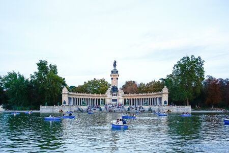 retreat: MADRID, SPAIN - OCTOBER 14, 2012 : Monument to Alfonso XII in the Parque del Buen Retiro Park of the Pleasant Retreat in Madrid, Spain