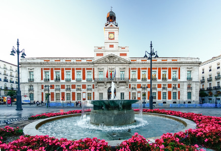 km: The old Post office at Puerta del Sol, Km 0, Madrid, Spain