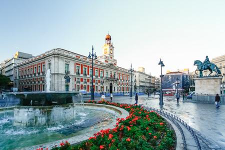 MADRID, SPAIN - OCTOBER 15, 2012 : The old Post office at Puerta del Sol, Km 0, Madrid, Spain Editorial