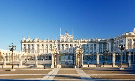 Infront of Palacio real in Madrid , Spain