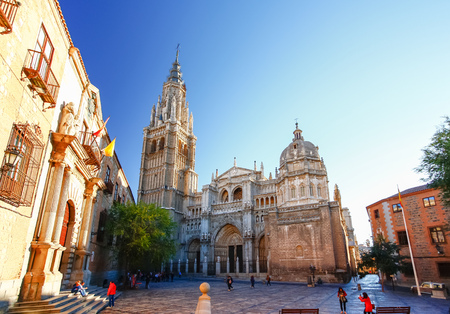 spanish architecture: TOLEDO, SPAIN - OCTOBER 14 2012: Morning light at Toledo Cathedral in Toledo, Spain.