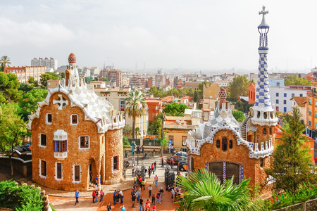 catalunia: BARCELONA, SPAIN - OCTOBER 19,2012 : Park Guell by architect Antoni Gaudi in Barcelona, Spain