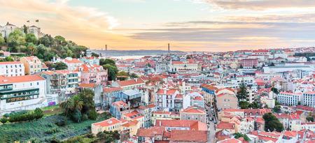 baixa: View over Baixa and Castelo de Sao Jorge, Lisbon, Portugal