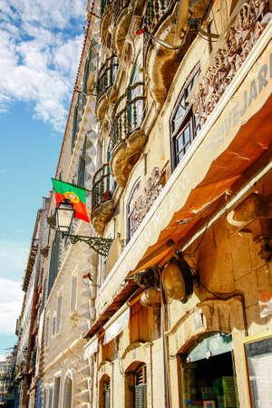 drapeau portugal: Portugal flag at cafe in Lisbon, Portugal