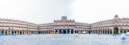 Panorama view of Plaza Mayor in Salamanca, Castilla y Leon, Spain Stock Photo