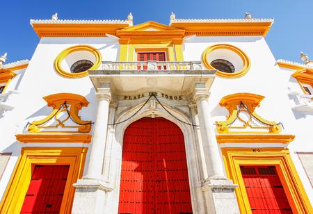 bull rings: The gate of  Seville bull arena in Sevilla, Spain