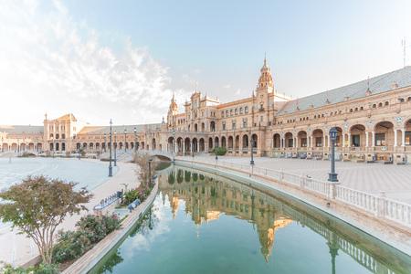 sevilla: Reflection of Spanish Square (Plaza de Espana) in Sevilla, Spain Editorial