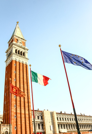 EU, Italy and Venice flag at San Marco square, Venice, Italy