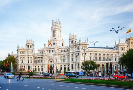 cibeles: MADRID, SPAIN - OCTOBER 14, 2012 : Palacio de Comunicaciones at Plaza de Cibeles in Madrid, Spain