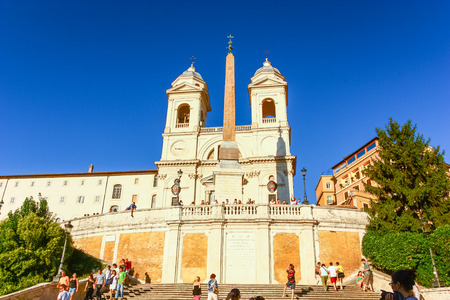 ROME, ITALY - AUG 10, 2011 : Spanish Steps during sunset in Rome, Italy