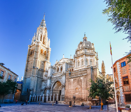 spanish architecture: Morning light at Toledo Cathedral in Toledo, Spain. Stock Photo