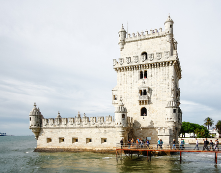 the tagus: Belem Tower on the Tagus River in Lisbon, Portugal