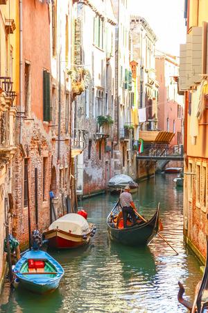 Gondolas sailing in canal, Venice, Italy Stock Photo