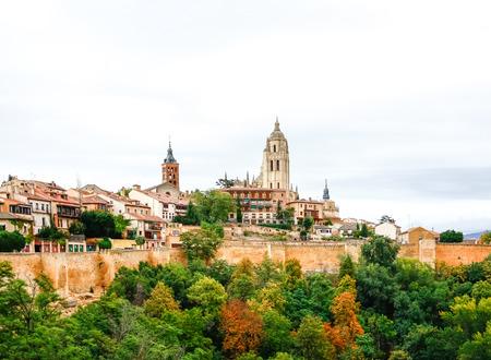 Panoramic view of the historic city of Segovia, Spain Stock Photo