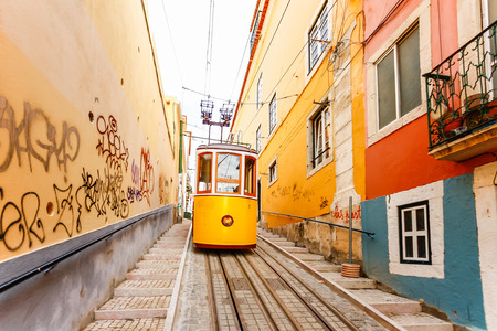 Lisbons Gloria funicular classified as a national monument opened 1885 located on the west side of the Avenida da Liberdade connects downtown with Bairro Alto.