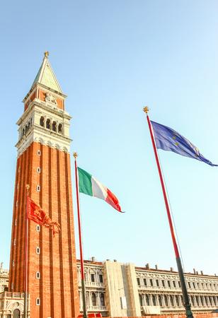 EU, Italy and Venice flag at San Marco square, Venice, Italy