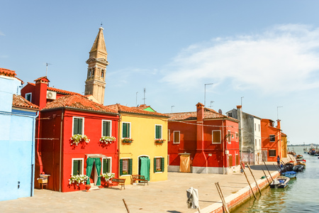 Colorful houses on Burano island, Venice Italy.
