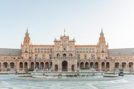 Sunrise at Spanish Square (Plaza de Espana) in Sevilla, Spain