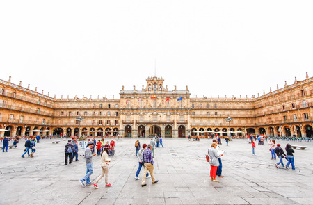 a nocturne: SALAMANCA, SPAIN - OCTOBER 13,2012 : Plaza Mayor in Salamanca, Castilla y Leon, Spain