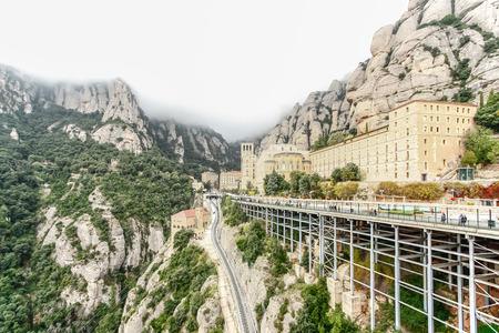 Sanctuary of Santa Maria de Montserrat Abbey in Montserrat mountains, Spain
