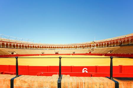 bull rings: SEVILLA, SPAIN, JANUARY 7, 2016: view of bullfighting arena plaza de toros de la real maestranza de caballeria de sevilla in the spanish city sevilla