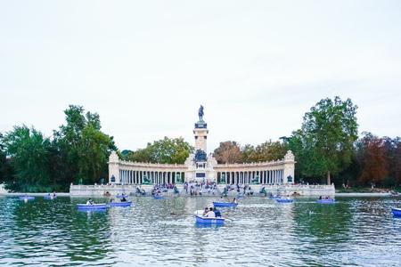 parque del buen retiro: MADRID, SPAIN - OCTOBER 14, 2012 : Monument to Alfonso XII in the Parque del Buen Retiro Park of the Pleasant Retreat in Madrid, Spain