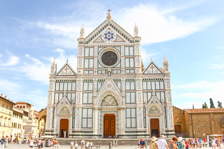 dante alighieri: FLORENCE, ITALY - AUG 12, 2011 : Santa Croce cathedral front view in Florence, Italy Editorial