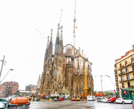 BARCELONA,SPAIN - OCTOBER 18,2012 : La Sagrada Familia - the impressive cathedral designed by Gaudi, which is being build since 19 March 1882. Editorial