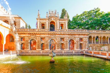 sevilla: Fountain in Real Alcazar Gardens, Sevilla , Spain