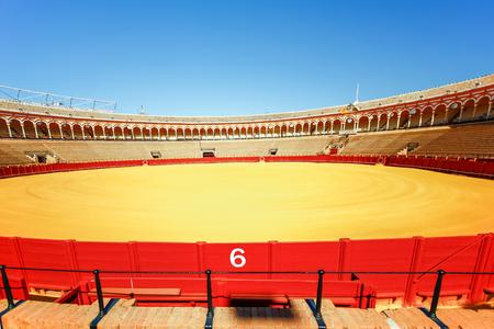sevilla: SEVILLA, SPAIN, JANUARY 7, 2016: view of bullfighting arena plaza de toros de la real maestranza de caballeria de sevilla in the spanish city sevilla