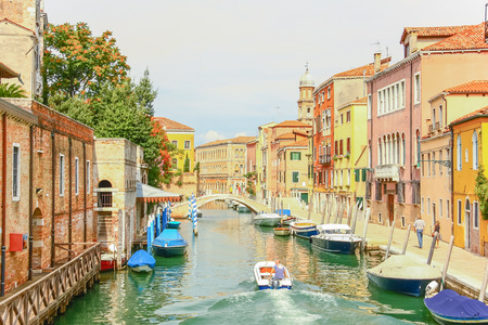Boat sailing in Grand canal, Venice, Italy