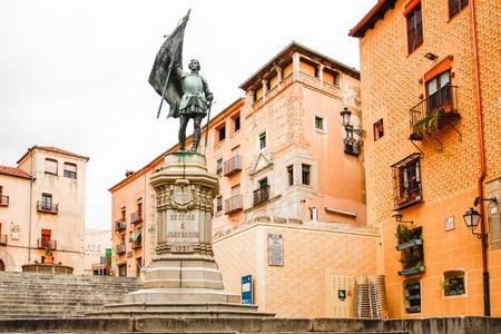 bravo: SEGOVIA, SPAIN - OCTOBER 14,2012 : Juan Bravo statue in Segovia, Spain