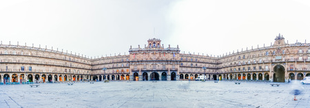 a nocturne: Panorama view of Plaza Mayor in Salamanca, Castilla y Leon, Spain Editorial
