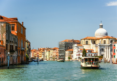 VENICE, ITALY - AUGUST 14,2011 : Grand canal from famous Rialto Bridge at sunset in Venice, Italy Editorial