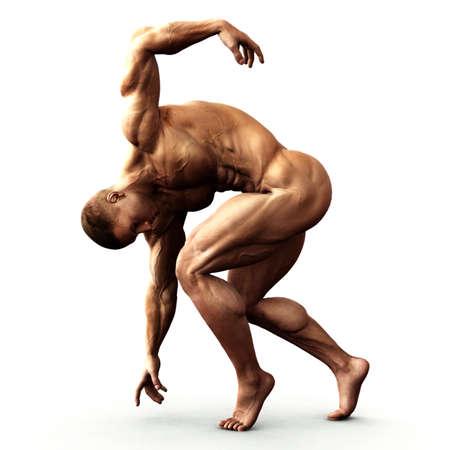 hombre desnudo: estirar